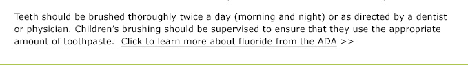 ADA's advice on Fluoride Toothpaste for Children