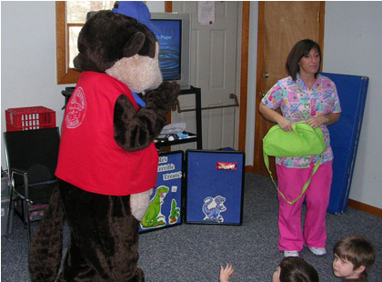 Kids love Buddy Beaver from Pediatric Dental Healthcare!
