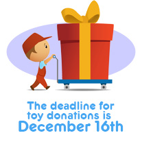 The deadline for donating toys is December 15th, 2010 for Toys for Tots at Pediatric Dental Healthcare